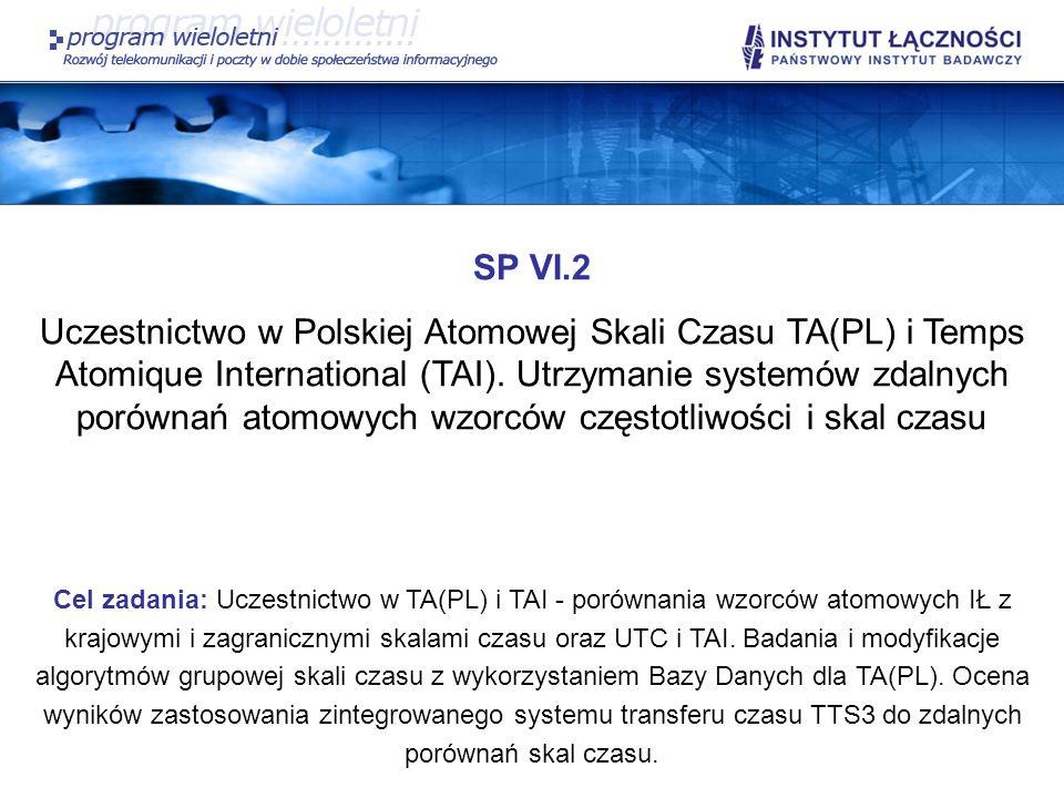 SP VI.2 Uczestnictwo w Polskiej Atomowej Skali Czasu TA(PL) i Temps Atomique International (TAI). Utrzymanie systemów zdalnych porównań atomowych wzor