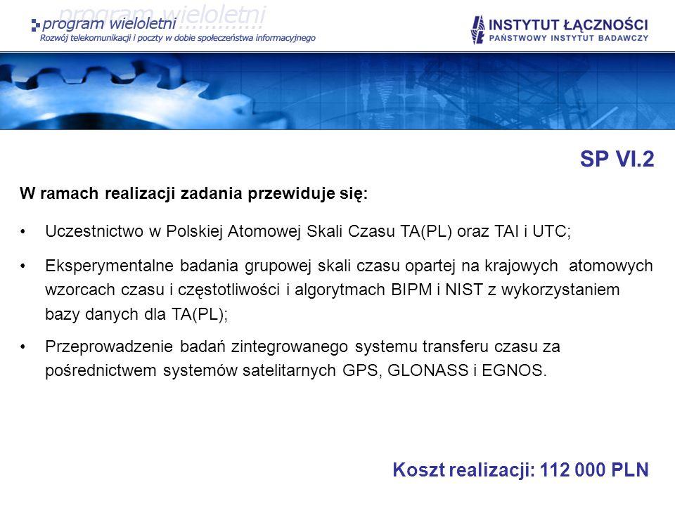 SP VI.2 W ramach realizacji zadania przewiduje się: Uczestnictwo w Polskiej Atomowej Skali Czasu TA(PL) oraz TAI i UTC; Eksperymentalne badania grupow