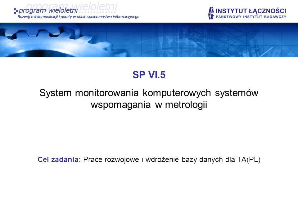SP VI.5 System monitorowania komputerowych systemów wspomagania w metrologii Cel zadania: Prace rozwojowe i wdrożenie bazy danych dla TA(PL)