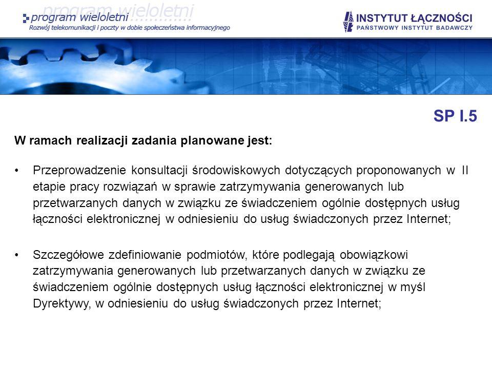 SP I.5 W ramach realizacji zadania planowane jest: Przeprowadzenie konsultacji środowiskowych dotyczących proponowanych w II etapie pracy rozwiązań w