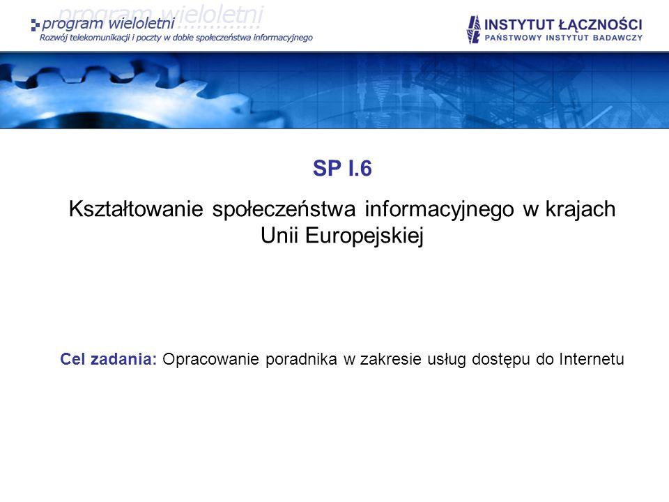 SP I.6 W ramach zadania planowane jest opracowanie poradnika skierowanego do klientów instytucjonalnych oraz indywidualnych obejmującego: opis podstawowych pojęć stosowanych przez dostawców Internetu; charakterystykę typowych parametrów usługi dostępu do Internetu, które są deklarowane przez dostawców; opis możliwości i ograniczeń związanych z różnymi typami technologii dostępowych do Internetu; charakterystykę usług oferowanych wraz z usługą dostępu do Internetu z uwzględnieniem konsekwencji wynikających z zachowania tajemnicy telekomunikacyjnej w oferowanych usługach, opis wymagań typowych aplikacji użytkownika, które wykorzystują sieć Internet (np.
