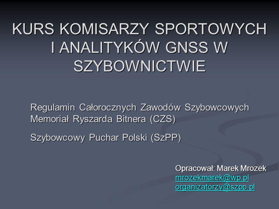 Prezentacja została przygotowana na kurs Komisarzy Sportowych i Analityków GNSS w szybownictwie.