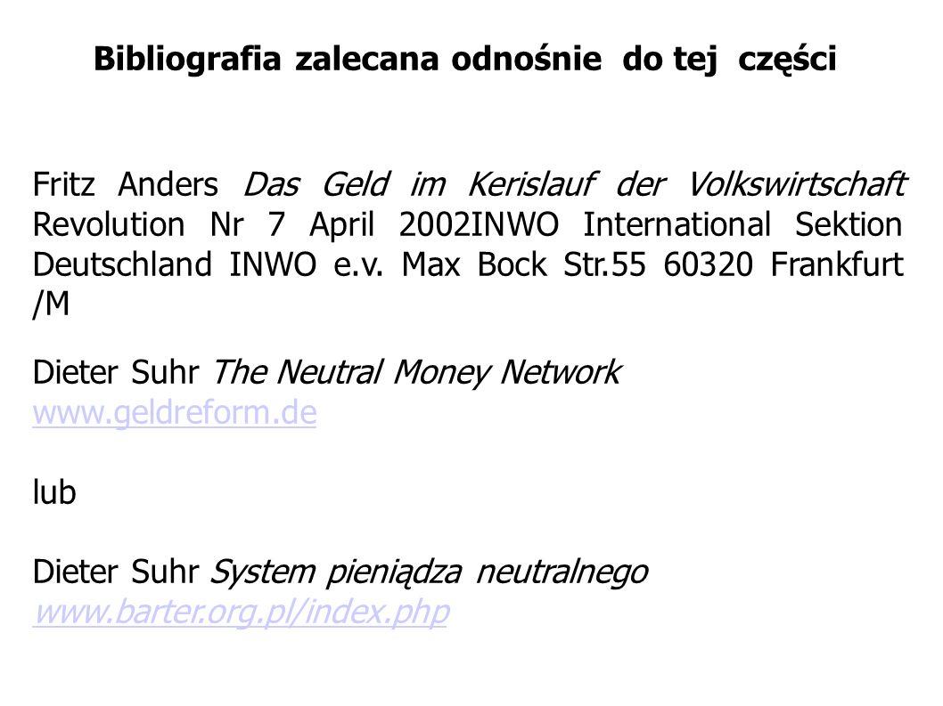 Bibliografia zalecana odnośnie do tej części Fritz Anders Das Geld im Kerislauf der Volkswirtschaft Revolution Nr 7 April 2002INWO International Sekti