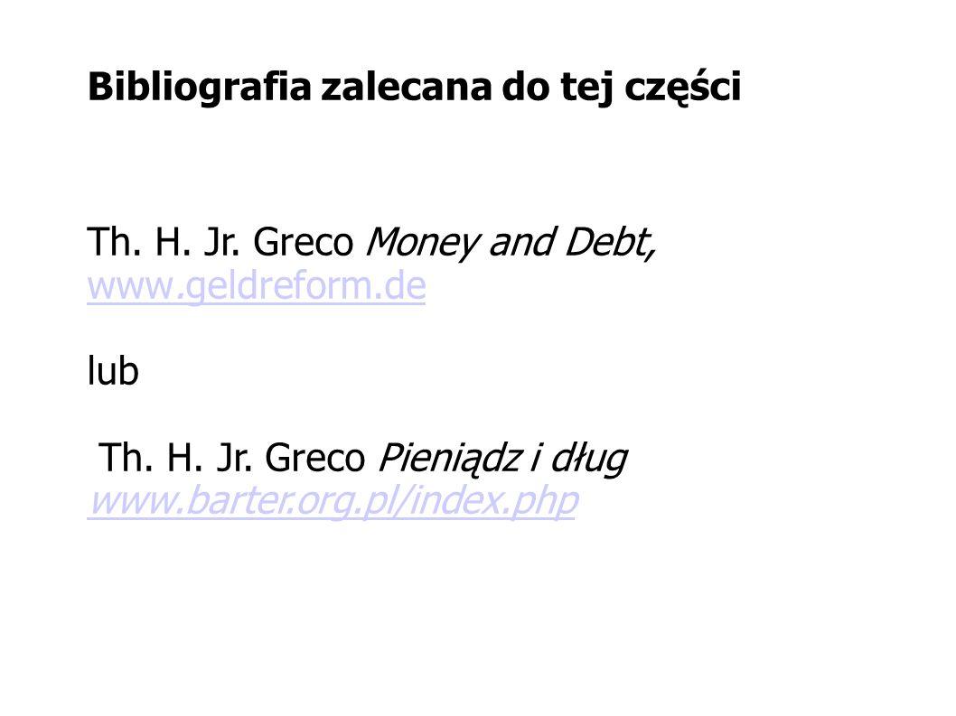 Bibliografia zalecana do tej części Th. H. Jr. Greco Money and Debt, www.geldreform.de www.geldreform.de lub Th. H. Jr. Greco Pieniądz i dług www.bart