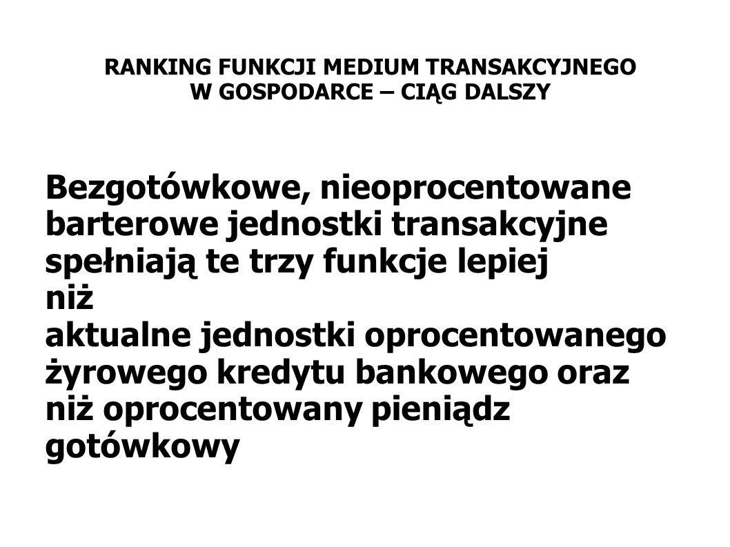 Bezgotówkowe, nieoprocentowane barterowe jednostki transakcyjne spełniają te trzy funkcje lepiej niż aktualne jednostki oprocentowanego żyrowego kredy