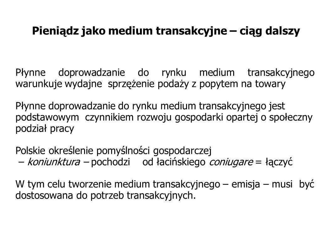Pieniądz jak medium transakcyjne – ciąg dalszy Szybkość dopływu medium transakcyjnego do rynku jest optymalna jeśli: Powstaje w momencie zapoczątkowania cyklu transakcyjnego : towar medium transakcyjne Podlega jak najszybszemu recyklingowi Wskutek tego rośnie częstość występowania pełnych cykli transakcyjnych towar medium transakcyjne towar Gromadzenie medium transakcyjnego poprzez wycofywania go z obiegu uniemożliwia dokonania całych łańcuchów możliwych transakcji pochodnychT
