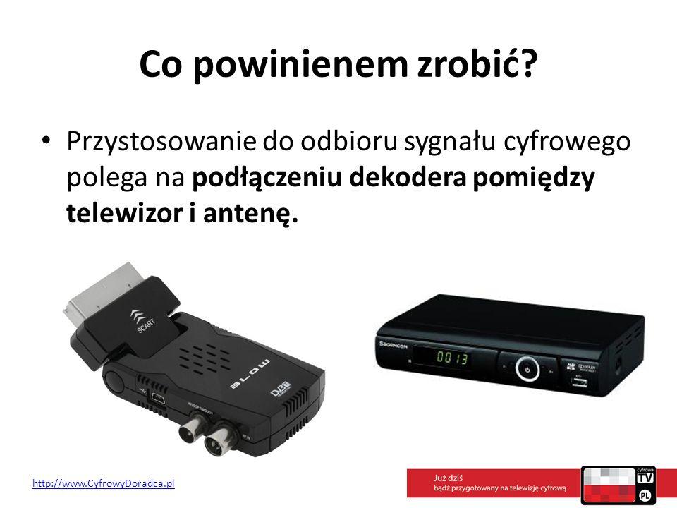 Co powinienem zrobić? Przystosowanie do odbioru sygnału cyfrowego polega na podłączeniu dekodera pomiędzy telewizor i antenę. http://www.CyfrowyDoradc