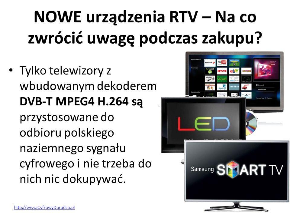 NOWE urządzenia RTV – Na co zwrócić uwagę podczas zakupu? Tylko telewizory z wbudowanym dekoderem DVB-T MPEG4 H.264 są przystosowane do odbioru polski