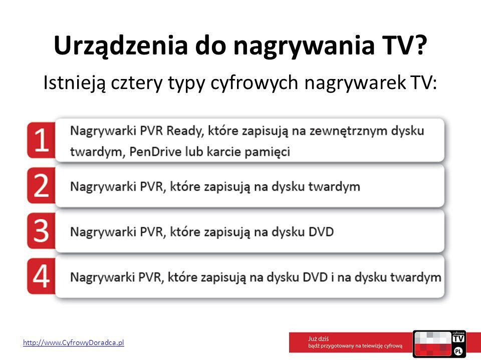 Urządzenia do nagrywania TV? Istnieją cztery typy cyfrowych nagrywarek TV: http://www.CyfrowyDoradca.pl