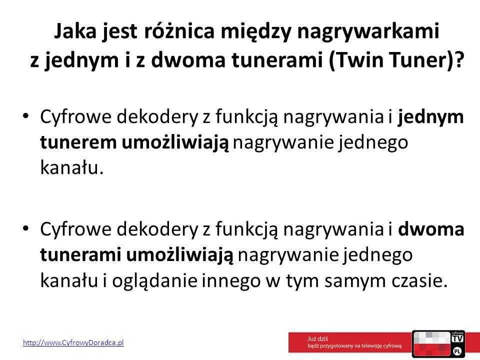 Jaka jest różnica między nagrywarkami z jednym i z dwoma tunerami (Twin Tuner)? Cyfrowe dekodery z funkcją nagrywania i jednym tunerem umożliwiają nag