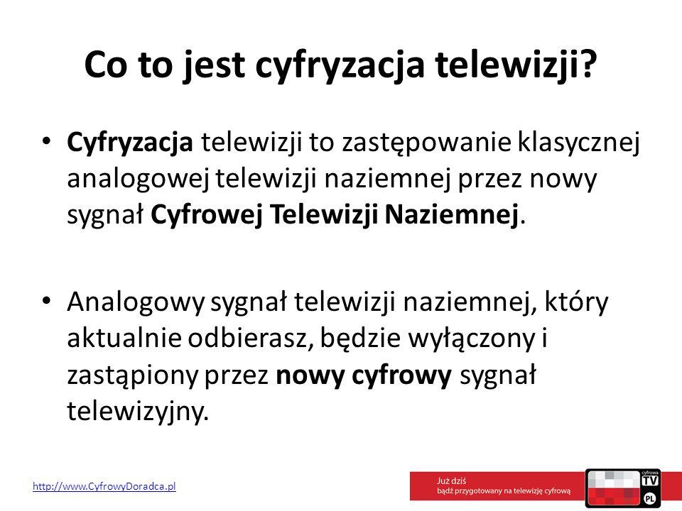 Co to jest cyfryzacja telewizji? Cyfryzacja telewizji to zastępowanie klasycznej analogowej telewizji naziemnej przez nowy sygnał Cyfrowej Telewizji N