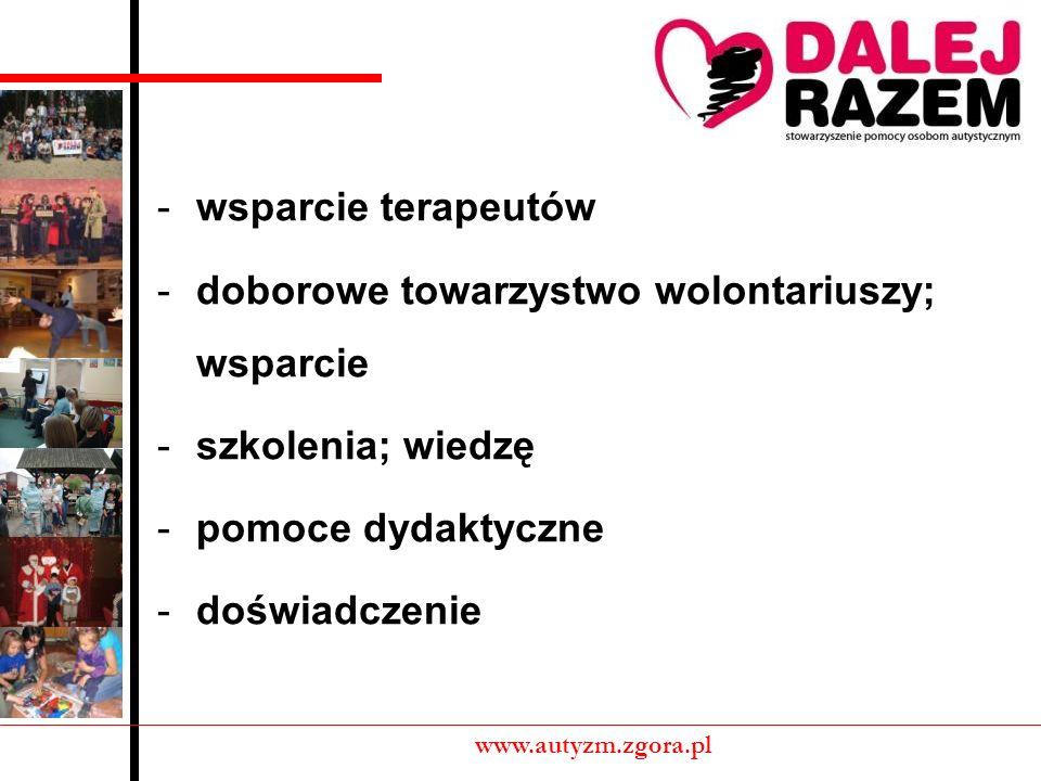 -wsparcie terapeutów -doborowe towarzystwo wolontariuszy; wsparcie -szkolenia; wiedzę -pomoce dydaktyczne -doświadczenie www.autyzm.zgora.pl