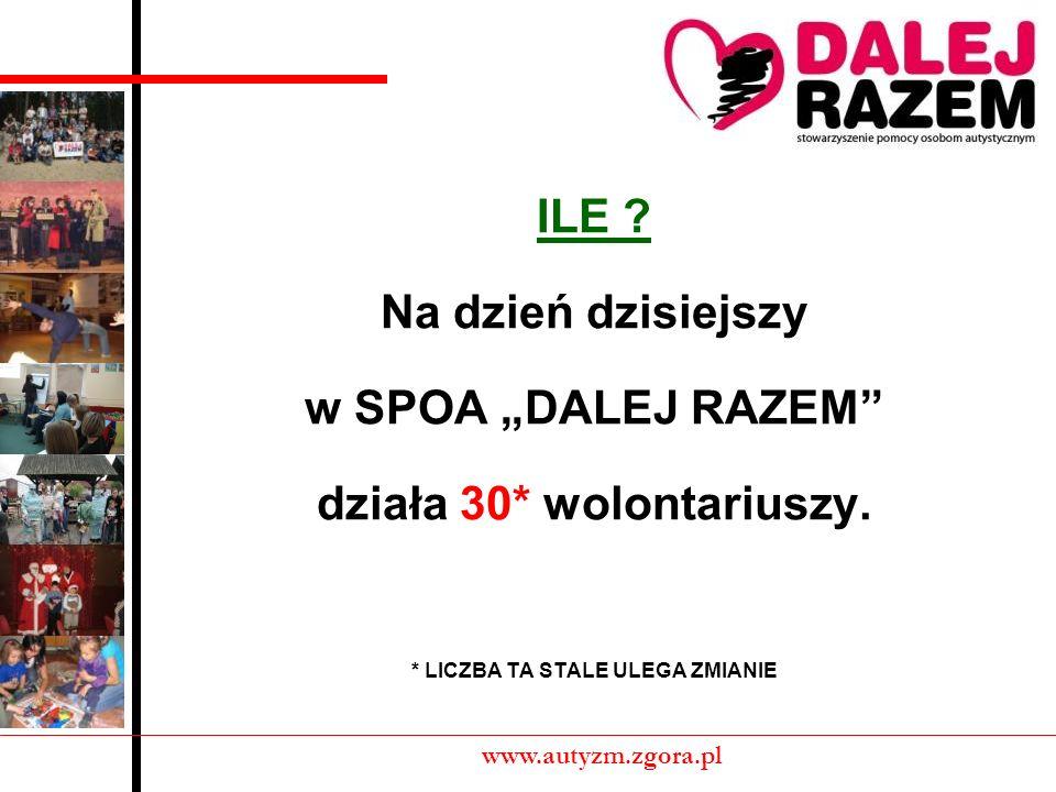 ILE ? Na dzień dzisiejszy w SPOA DALEJ RAZEM działa 30* wolontariuszy. * LICZBA TA STALE ULEGA ZMIANIE www.autyzm.zgora.pl