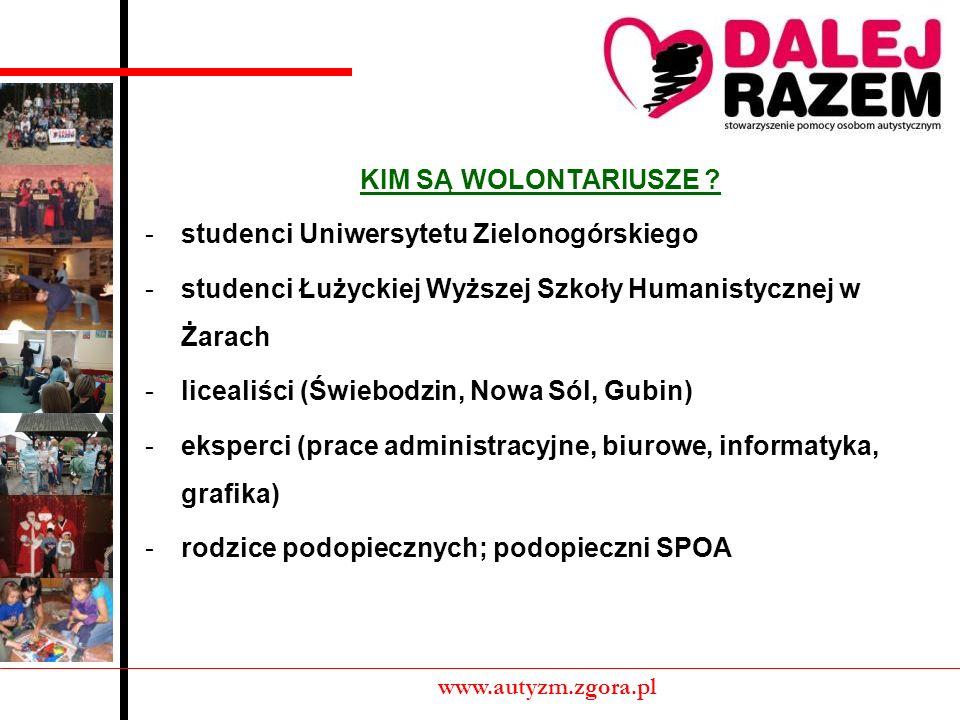 POZYSKIWANIE WOLONTARIUSZY: -oficjalny nabór (plakaty, pośrednictwo nauczycieli i pedagogów szkolnych) -zgłoszenia internetowe -efekt warsztatowy www.autyzm.zgora.pl