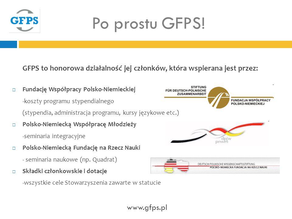 GFPS to honorowa działalność jej członków, która wspierana jest przez: Fundację Współpracy Polsko-Niemieckiej -koszty programu stypendialnego (stypendia, administracja programu, kursy językowe etc.) Polsko-Niemiecką Współpracę Młodzieży -seminaria integracyjne Polsko-Niemiecką Fundację na Rzecz Nauki - seminaria naukowe (np.