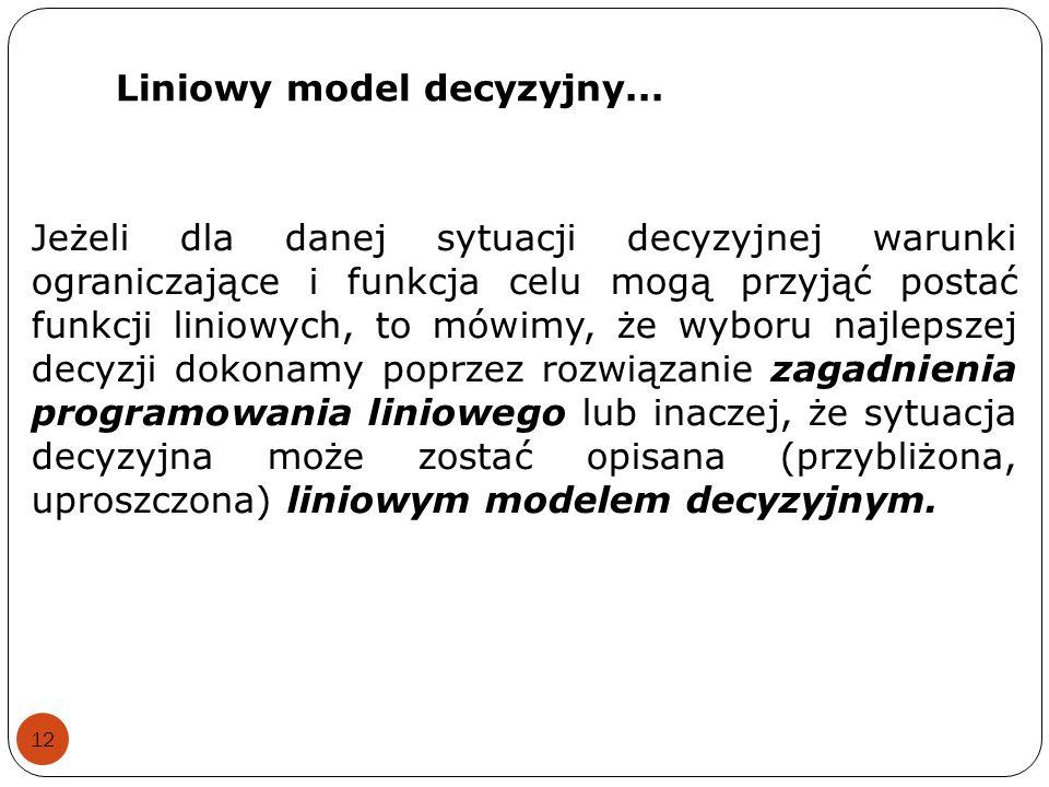 Liniowy model decyzyjny... 12 Jeżeli dla danej sytuacji decyzyjnej warunki ograniczające i funkcja celu mogą przyjąć postać funkcji liniowych, to mówi