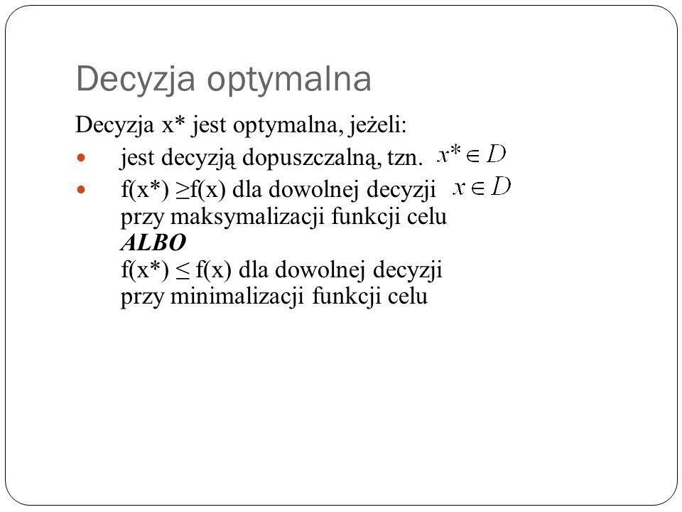 Decyzja optymalna Decyzja x* jest optymalna, jeżeli: jest decyzją dopuszczalną, tzn. f(x*) f(x) dla dowolnej decyzji przy maksymalizacji funkcji celu