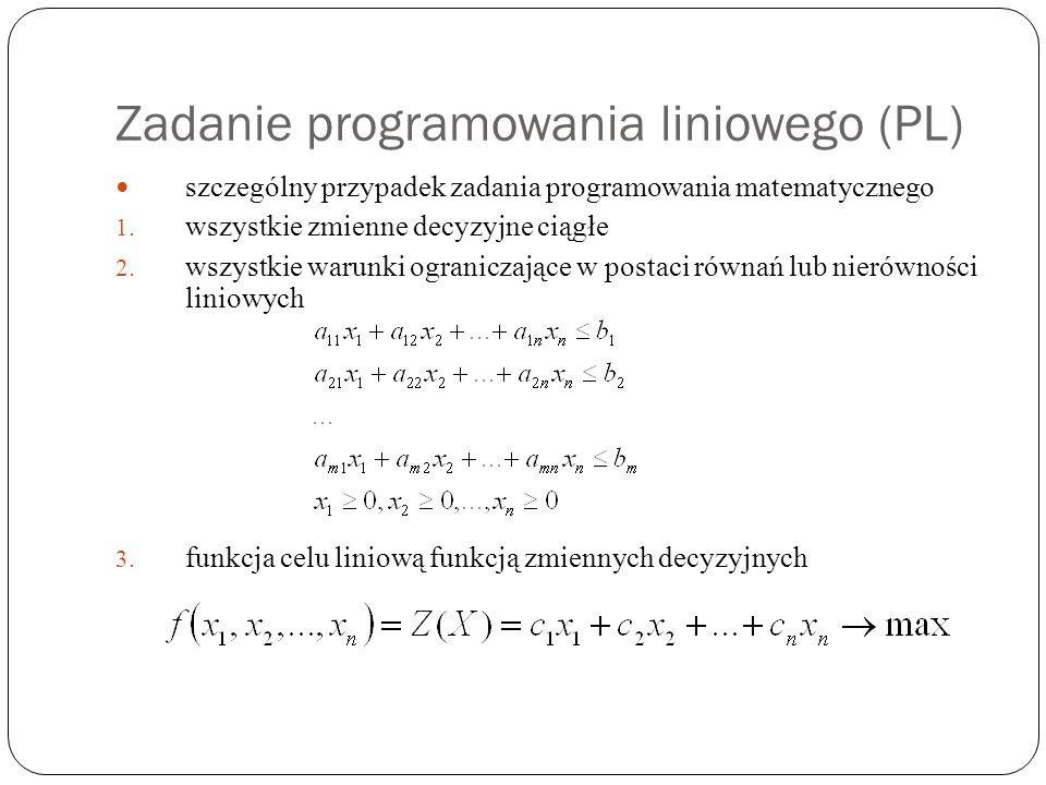 Zadanie programowania liniowego (PL) szczególny przypadek zadania programowania matematycznego 1. wszystkie zmienne decyzyjne ciągłe 2. wszystkie waru