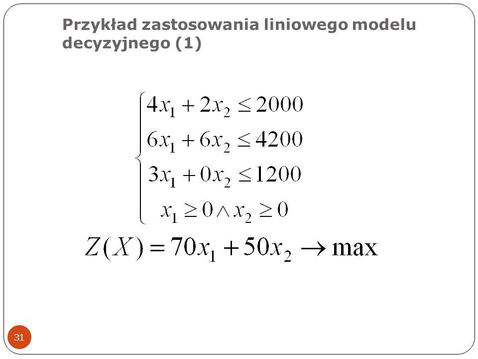 Przykład zastosowania liniowego modelu decyzyjnego (1) 31