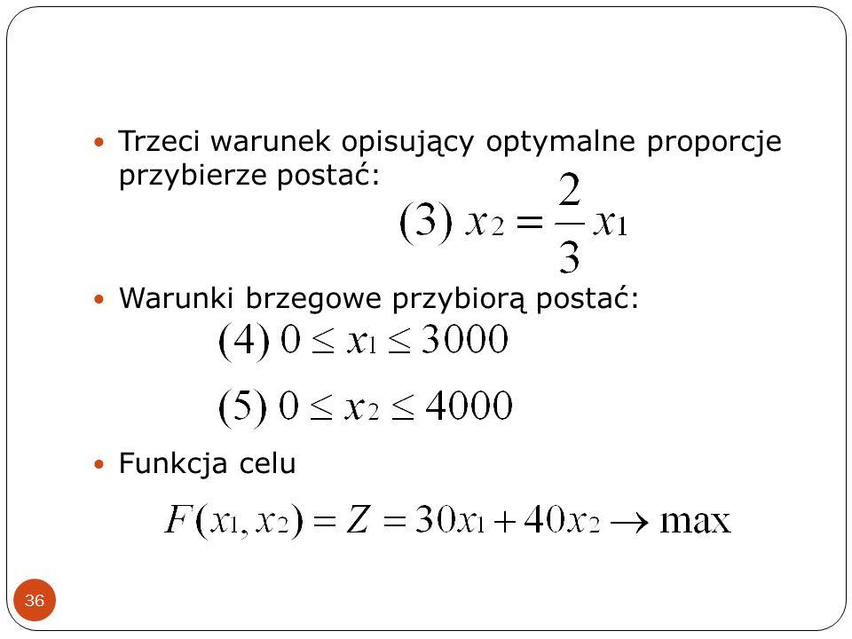 36 Trzeci warunek opisujący optymalne proporcje przybierze postać: Warunki brzegowe przybiorą postać: Funkcja celu