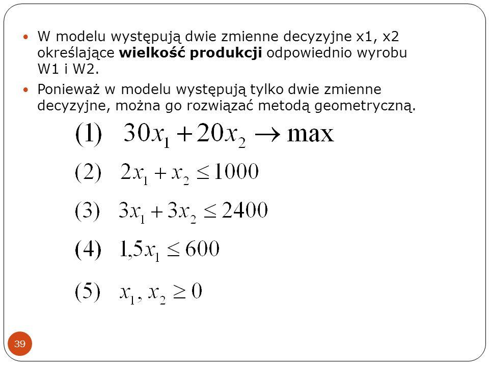 39 W modelu występują dwie zmienne decyzyjne x1, x2 określające wielkość produkcji odpowiednio wyrobu W1 i W2. Ponieważ w modelu występują tylko dwie