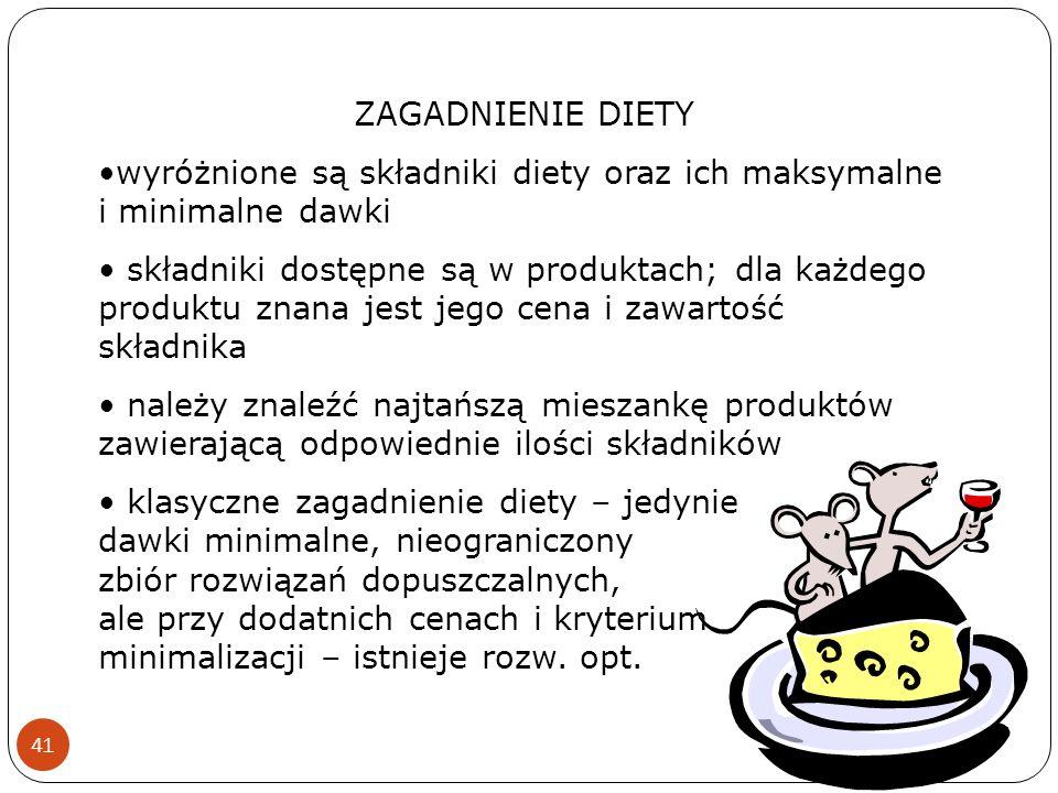 41 ZAGADNIENIE DIETY wyróżnione są składniki diety oraz ich maksymalne i minimalne dawki składniki dostępne są w produktach; dla każdego produktu znan