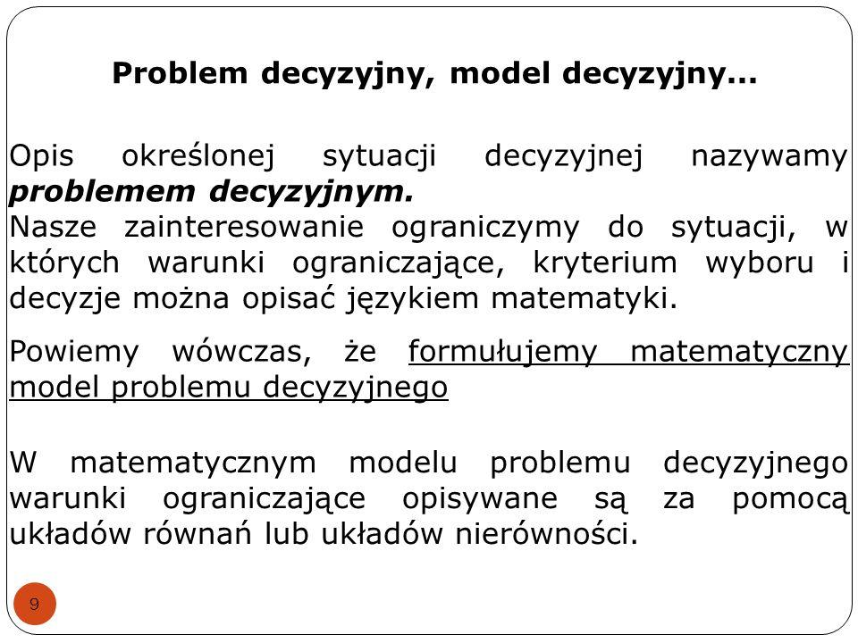 Problem decyzyjny, model decyzyjny... 9 Opis określonej sytuacji decyzyjnej nazywamy problemem decyzyjnym. Nasze zainteresowanie ograniczymy do sytuac