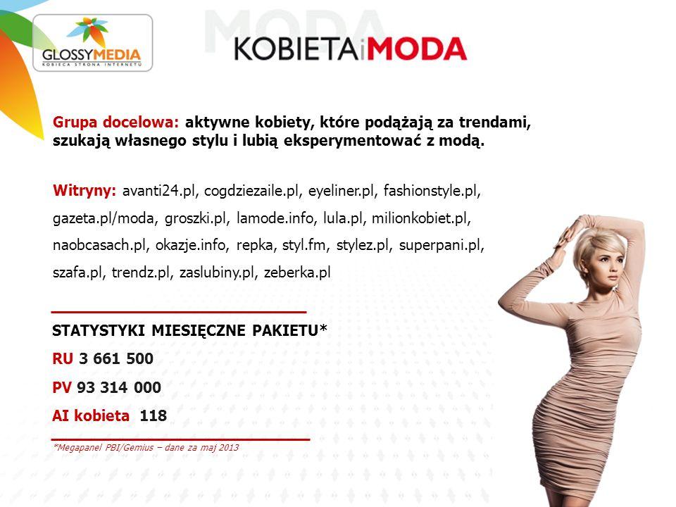 *Megapanel PBI/Gemius – dane za maj 2013 STATYSTYKI MIESIĘCZNE PAKIETU* RU 3 661 500 PV 93 314 000 AI kobieta 118 Grupa docelowa: aktywne kobiety, które podążają za trendami, szukają własnego stylu i lubią eksperymentować z modą.