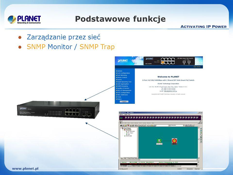 www.planet.pl Podstawowe funkcje Zarządzanie przez sieć SNMP Monitor / SNMP Trap