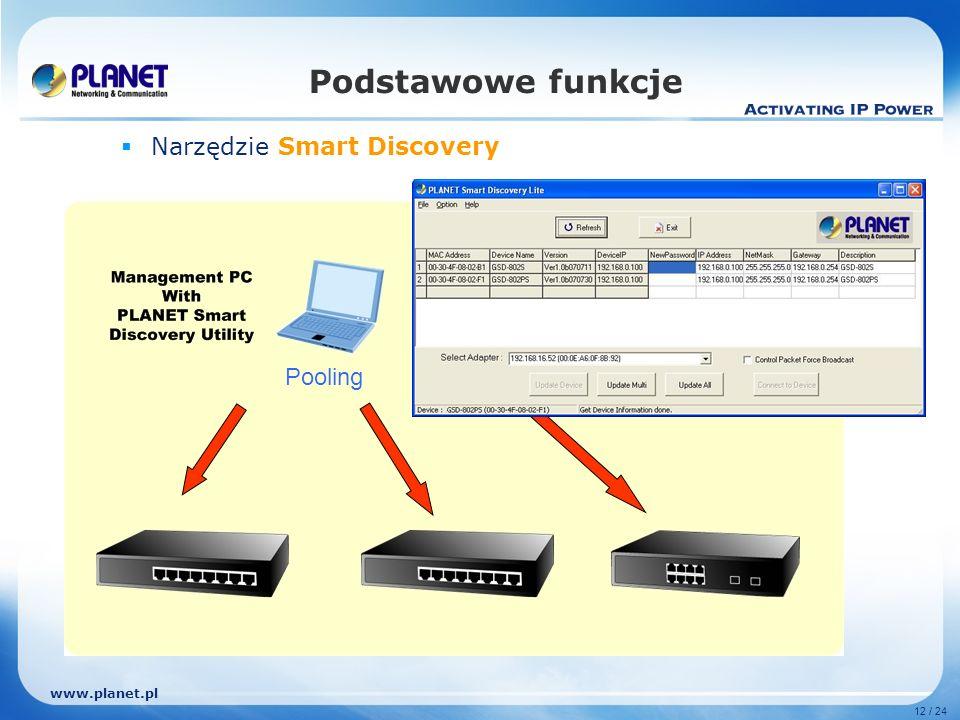 www.planet.pl 12 / 24 Podstawowe funkcje Narzędzie Smart Discovery Pooling
