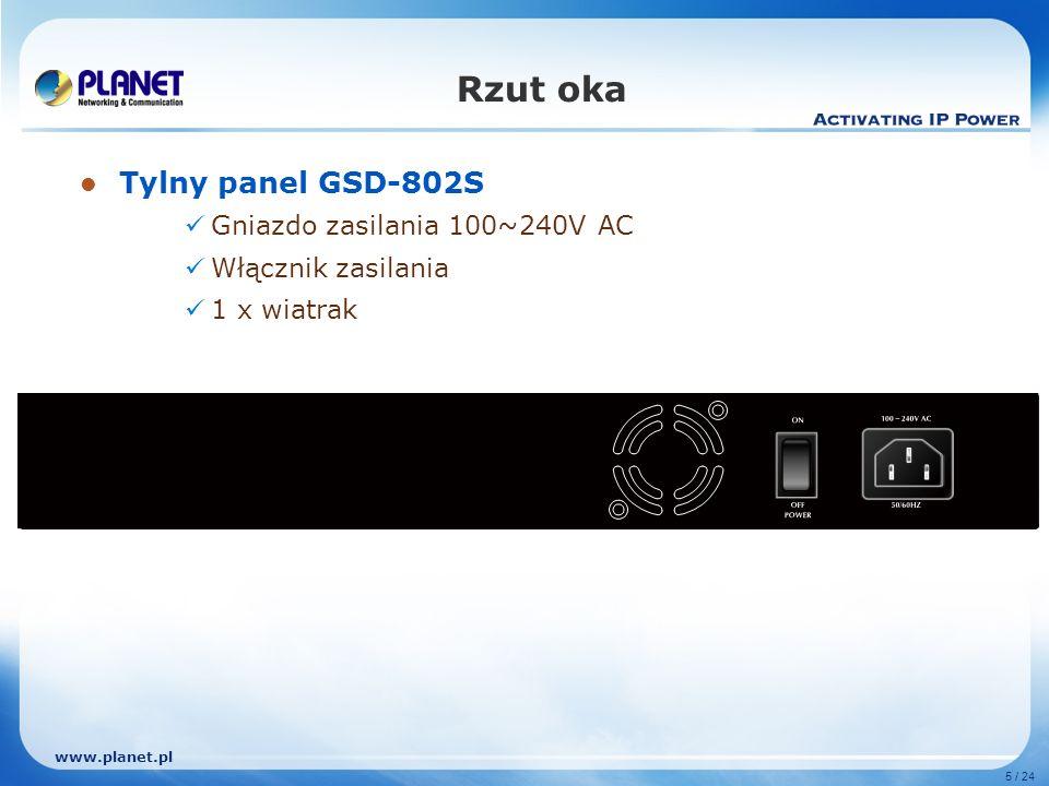www.planet.pl 5 / 24 Rzut oka Tylny panel GSD-802S Gniazdo zasilania 100~240V AC Włącznik zasilania 1 x wiatrak