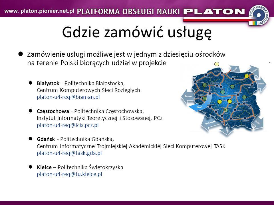 Zamówienie usługi możliwe jest w jednym z dziesięciu ośrodków na terenie Polski biorących udział w projekcie Białystok - Politechnika Białostocka, Cen