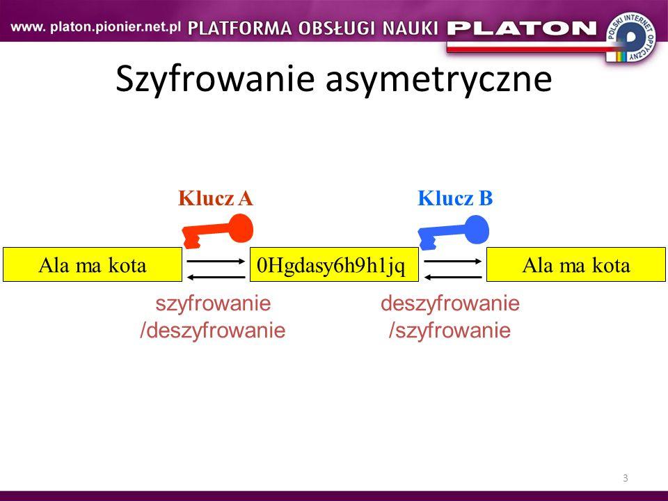 3 Szyfrowanie asymetryczne Klucz AKlucz B Ala ma kota0Hgdasy6h9h1jqAla ma kota szyfrowanie /deszyfrowanie deszyfrowanie /szyfrowanie