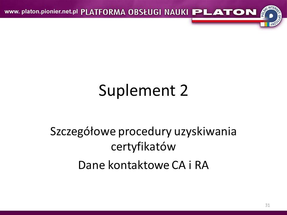 31 Suplement 2 Szczegółowe procedury uzyskiwania certyfikatów Dane kontaktowe CA i RA
