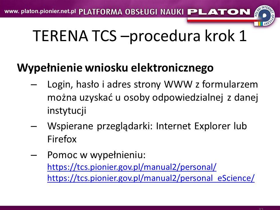 32 TERENA TCS –procedura krok 1 Wypełnienie wniosku elektronicznego – Login, hasło i adres strony WWW z formularzem można uzyskać u osoby odpowiedzial