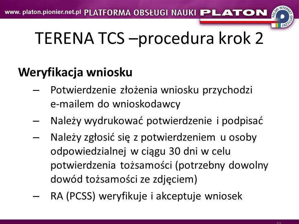 33 TERENA TCS –procedura krok 2 Weryfikacja wniosku – Potwierdzenie złożenia wniosku przychodzi e-mailem do wnioskodawcy – Należy wydrukować potwierdz