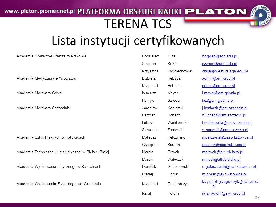 36 TERENA TCS Lista instytucji certyfikowanych Akademia Górniczo-Hutnicza w KrakowieBogusławJuzabogdan@agh.edu.pl SzymonSokółszymon@agh.edu.pl Krzyszt