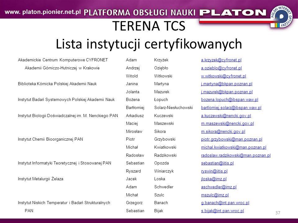 37 TERENA TCS Lista instytucji certyfikowanych Akademickie Centrum Komputerowe CYFRONETAdamKrzyżeka.krzyzek@cyfronet.pl Akademii Górniczo-Hutniczej w