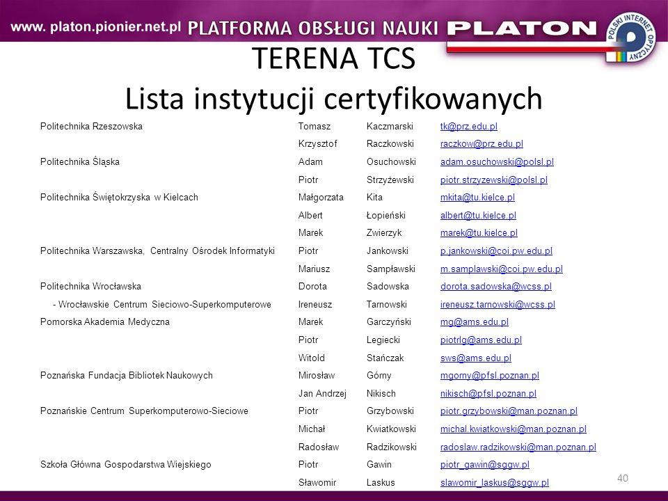 40 TERENA TCS Lista instytucji certyfikowanych Politechnika RzeszowskaTomaszKaczmarskitk@prz.edu.pl KrzysztofRaczkowskiraczkow@prz.edu.pl Politechnika