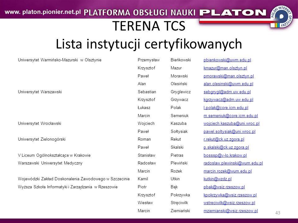 43 TERENA TCS Lista instytucji certyfikowanych Uniwersytet Warmińsko-Mazurski w OlsztyniePrzemysławBieńkowskipbienkowski@uwm.edu.pl KrzysztofMazurkmaz