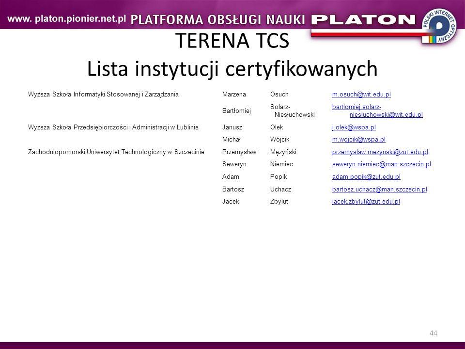 44 TERENA TCS Lista instytucji certyfikowanych Wyższa Szkoła Informatyki Stosowanej i ZarządzaniaMarzenaOsuchm.osuch@wit.edu.pl Bartłomiej Solarz- Nie