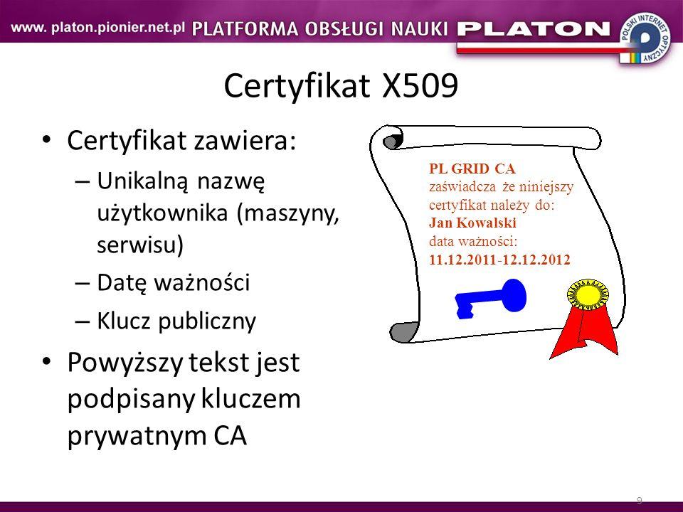 9 Certyfikat X509 Certyfikat zawiera: – Unikalną nazwę użytkownika (maszyny, serwisu) – Datę ważności – Klucz publiczny Powyższy tekst jest podpisany