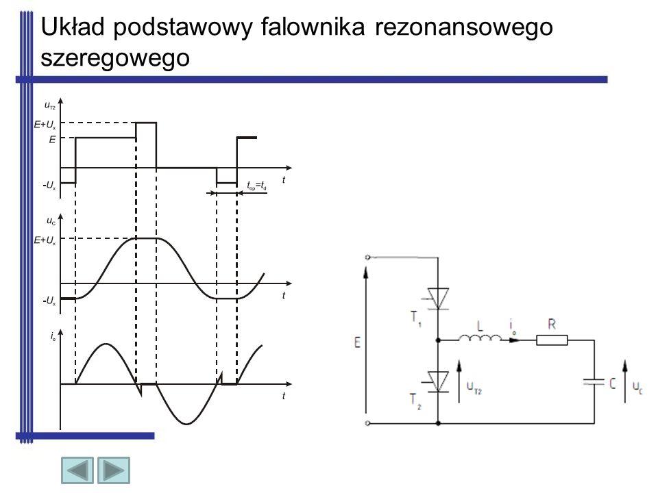 Zasada działania falownika Zasada pracy układu jest następująca: po włączeniu tyrystora T1 następuje przeładowanie rezonansowe kondensatora C praktycznie sinusoidalnym impulsem prądu Io.