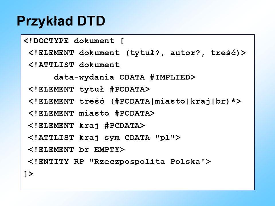 Przykład DTD <!DOCTYPE dokument [ <!ATTLIST dokument data-wydania CDATA #IMPLIED> ]>