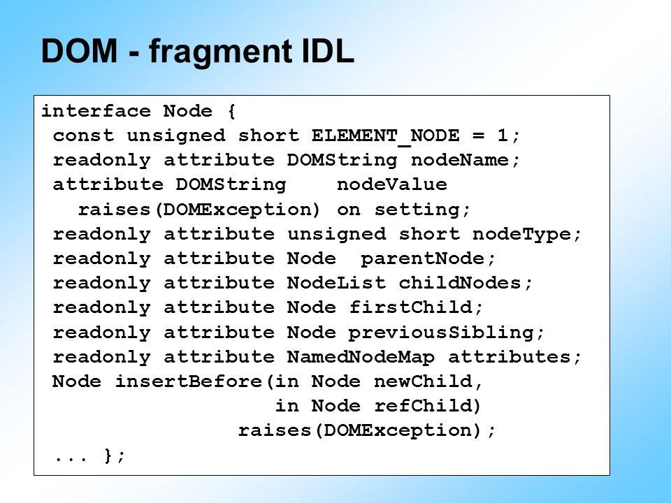 DOM - fragment IDL interface Node { const unsigned short ELEMENT_NODE = 1; readonly attribute DOMString nodeName; attribute DOMString nodeValue raises