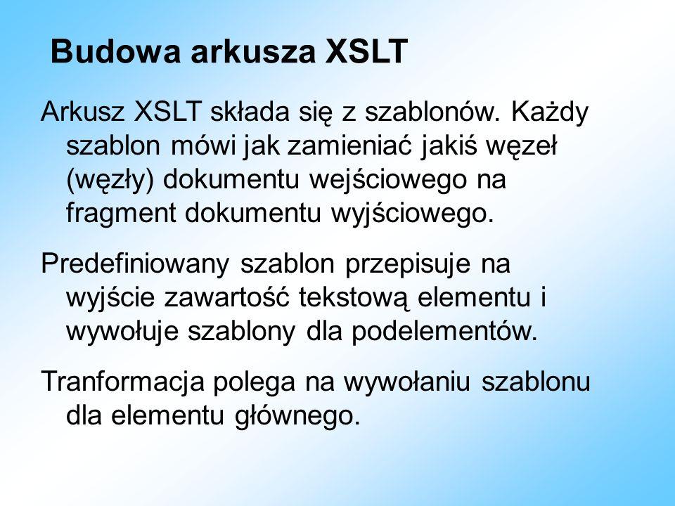 Budowa arkusza XSLT Arkusz XSLT składa się z szablonów. Każdy szablon mówi jak zamieniać jakiś węzeł (węzły) dokumentu wejściowego na fragment dokumen