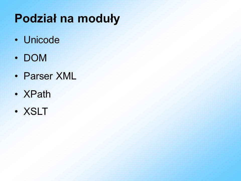 Podział na moduły Unicode DOM Parser XML XPath XSLT