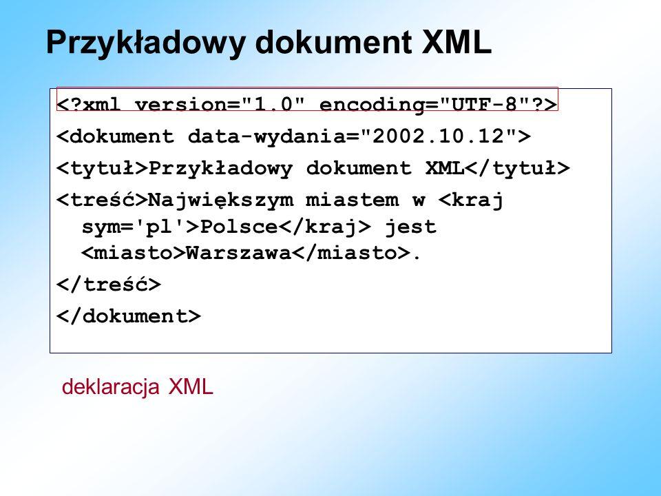 Przykładowy dokument XML Przykładowy dokument XML Największym miastem w Polsce jest Warszawa. deklaracja XML