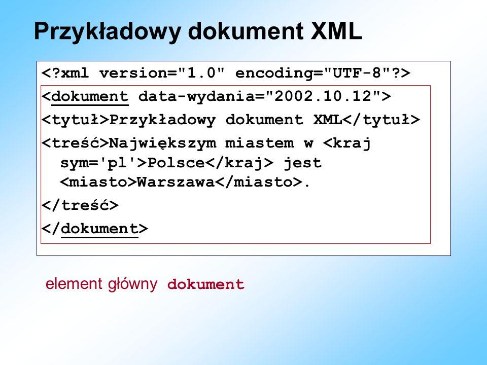 Przykładowy dokument XML Przykładowy dokument XML Największym miastem w Polsce jest Warszawa. element główny dokument