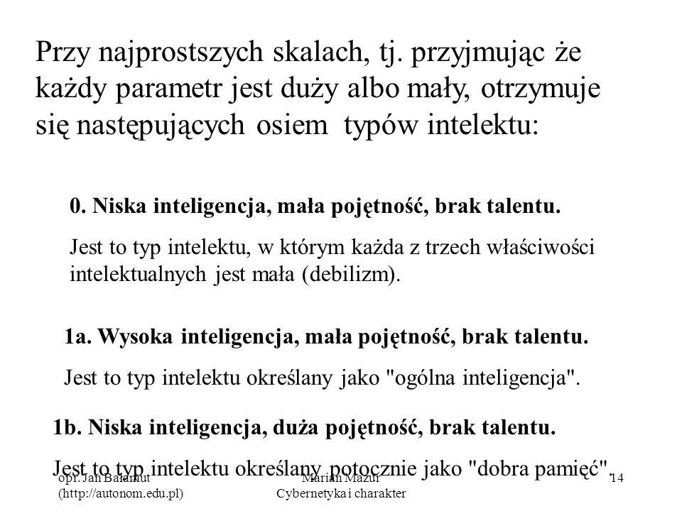 opr. Jan Bałamut (http://autonom.edu.pl) Marian Mazur Cybernetyka i charakter 14 Przy najprostszych skalach, tj. przyjmując że każdy parametr jest duż